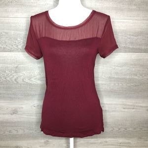 Burgundy H&M Tee Size Small Sheer Shoulders